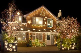 Some neighbors go all out during the holidays, competing for the best light design.