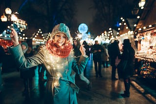 During the holiday season streets are transformed with lights of all colors and shapes.