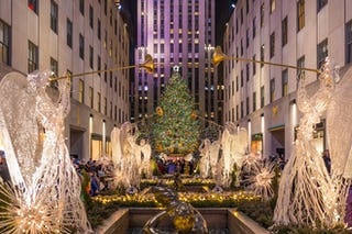 The enormous decorated Christmas tree at Rockefeller Center in Manhattan.