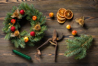 Modern Christmas wreaths are made from a variety of different materials.