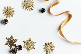 Gold Stars, Ribbon and Pine Cones