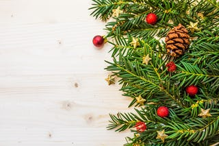 Pine Branches and Red Ornaments