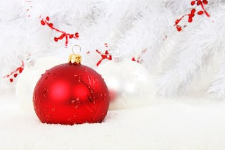 white tree with red ornaments background free christmas hq