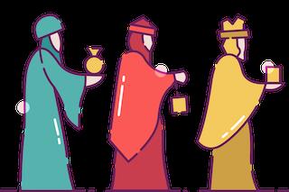 Three Wisemen Bringing Gifts