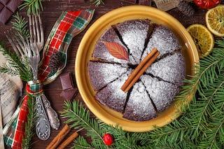Christmas Cake with Greenery