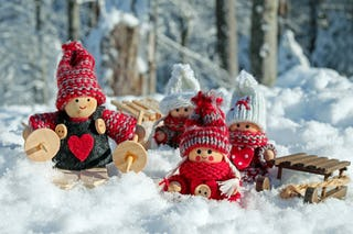 Christmas Dolls in Snow
