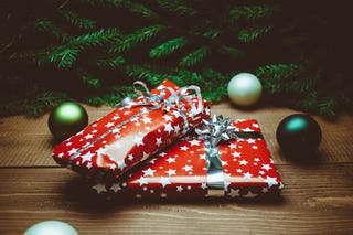 Red Wrapped Christmas Gift
