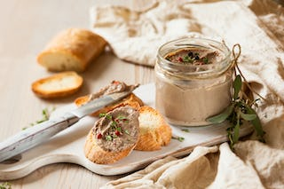 Spreadable and delicious, chicken liver pate makes a great addition to any charcuterie or cheese plate.