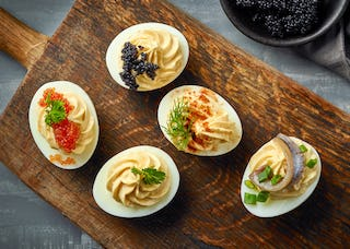 Deviled eggs never go out of style, and are just as tasty during Christmas.