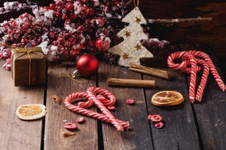 Candy canes are often used as Christmas decorations (although you will probably need new ones next year).