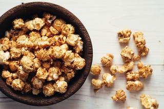 The temtping, ever present ultimate snack of the holidays, caramel popcorn is definitely our undoing.