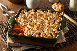 Sweet potato casserole with marshmallow topping.