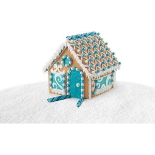 Blue and white gingerbread house (image via Wilton).