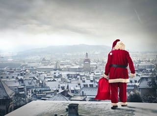 Santa Claus slides down chimneys to bring presents to children