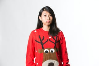 Typical response to getting an ugly Christmas sweater for a gift.